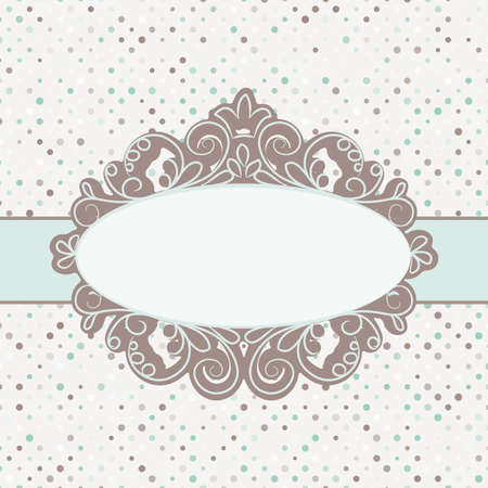 Vintage polka dot card with lace  EPS 8
