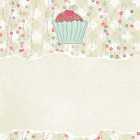 cupcake background: Retro card with cupcake
