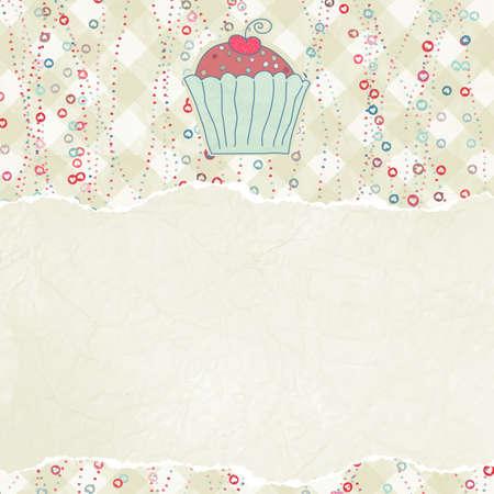 Retro-Karte mit Kuchen Standard-Bild - 13332572