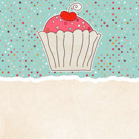 Retro card with cupcake Stock Vector - 13354188