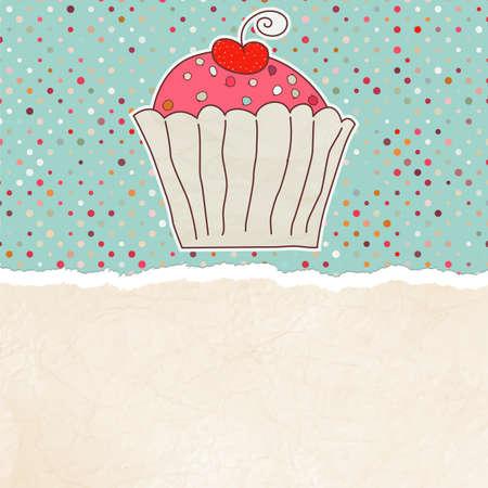 Retro card with cupcake   Vector