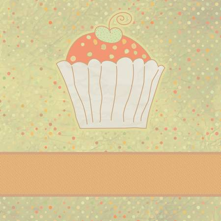 Retro card with cupcake  Stock Vector - 13430006