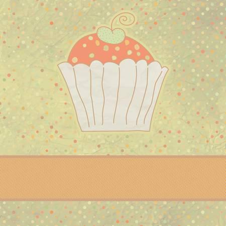 Retro card with cupcake Stock Vector - 13430006