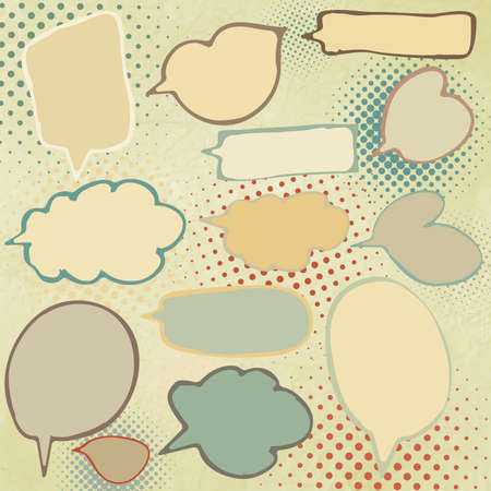 Vintage speech bubbles set  EPS 8 Vector