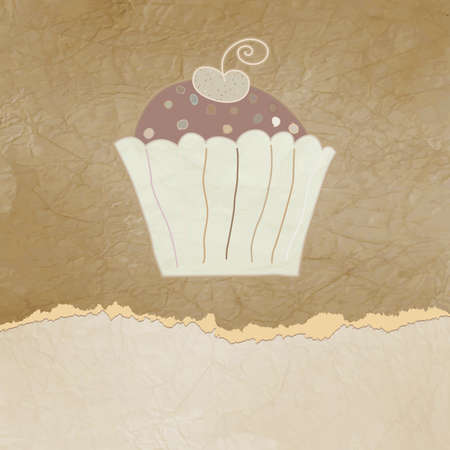 Vintage birthday card with cupcake  EPS 8 Vector