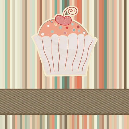 Retro card with cupcake  And also includes EPS 8 Vector
