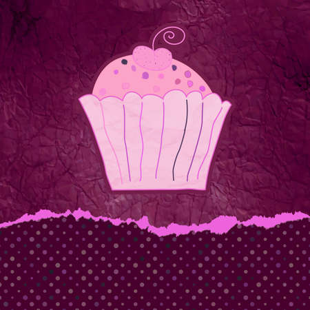 Vintage birthday card with cupcake Stock Vector - 13609749