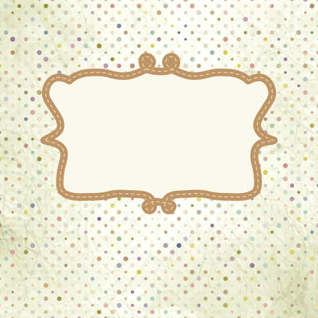 Vintage Polka Dot-Karte mit Spitze Standard-Bild - 13609759
