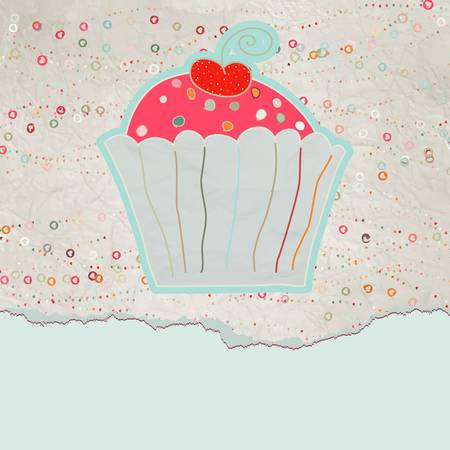 Vintage birthday card with cupcake  Vector