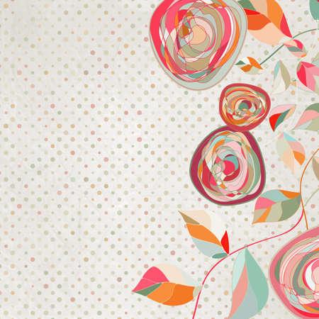 dibujo vintage: intAge plantilla de flores, flores de fondo EPS 8