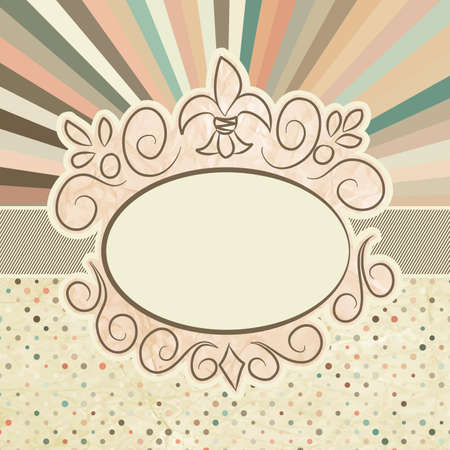 Template with retro sun burst and olka dot   Vector