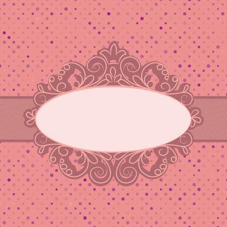 label frame: Vintage polka dot card with lace   Illustration
