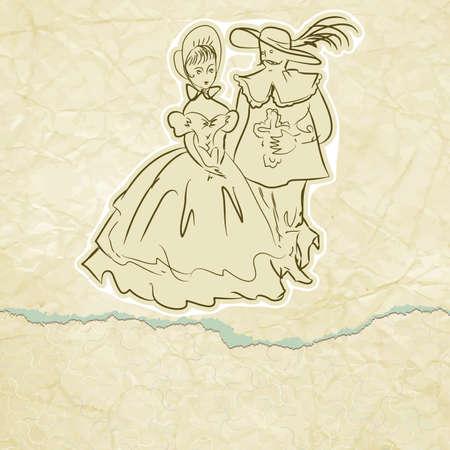 mosquetero: Mosquetero y la tarjeta de dama de �poca Vectores