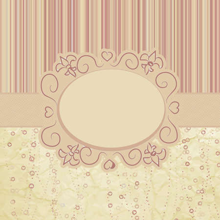 vintage postcard: Template frame design for greeting card   Illustration