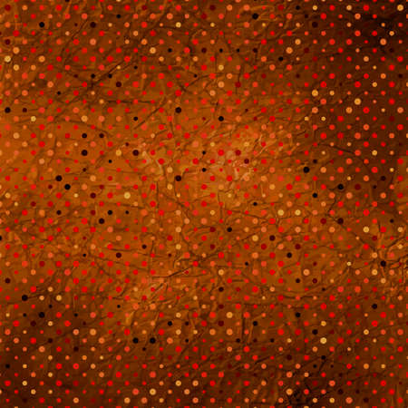 Burn red aged paper with polka dots Vector