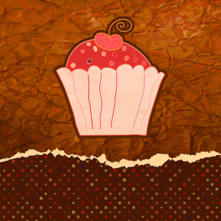 Vintage birthday card with cupcake Illustration