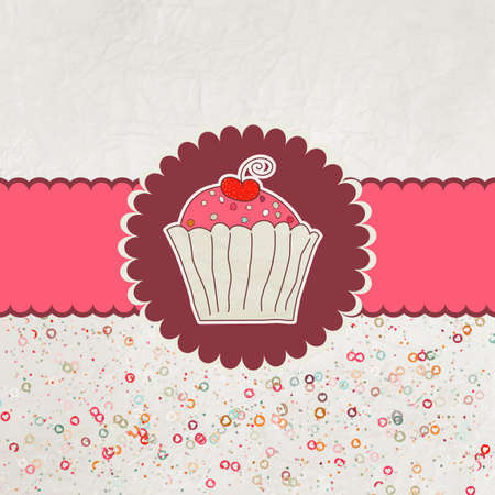 Happy birthday card  Cupcake Vector