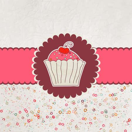 Happy birthday card  Cupcake Vector
