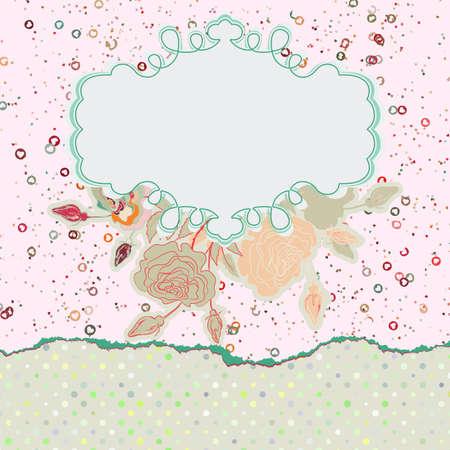old style lettering: Valentine s Day vintage pink card template  EPS 8 Illustration