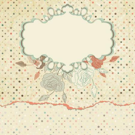 retro background: Romantic elegant floral with vintage roses