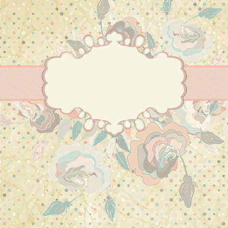 Roses on light beige and pink polka dot   EPS 8 Stock Vector - 14737761