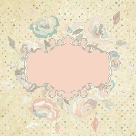 Pink roses frame on beidge polka dot  EPS 8 Vector