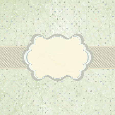 Vintage polka dot card with frame  EPS 8 Vector