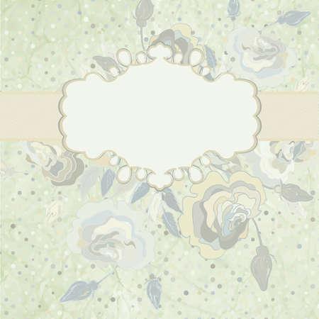 Roses on light beige and pink polka dot   EPS 8 Vector