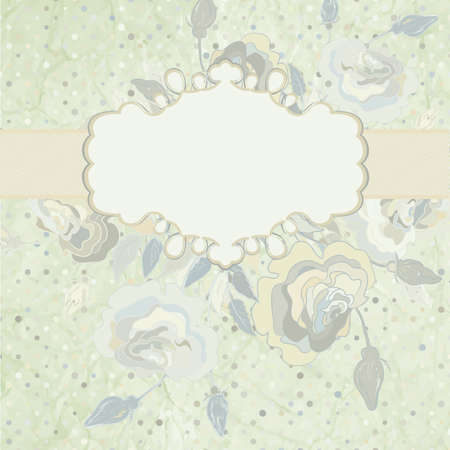 Roses on light beige and pink polka dot   EPS 8 Vector
