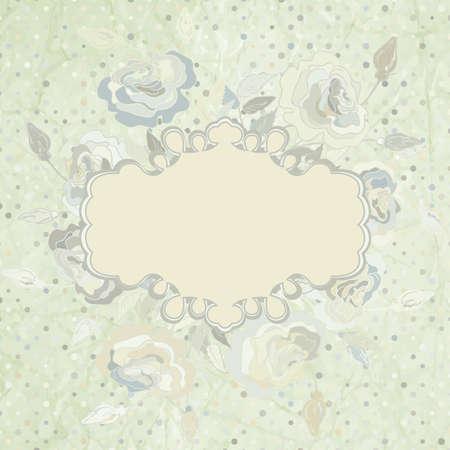 Pink roses frame on beidge polka dot  EPS 8