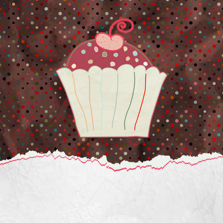 Cute retro Cupcake in frame  EPS 8  Vector