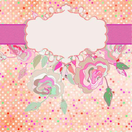 Paper textured polka dots flower card  EPS 8 Illustration