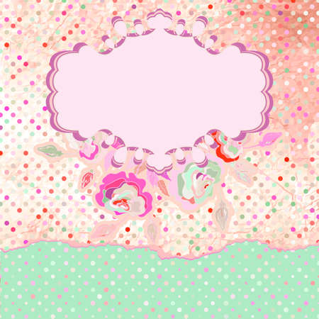 Floral Rose Pattern and polka dot  EPS 8 Vector