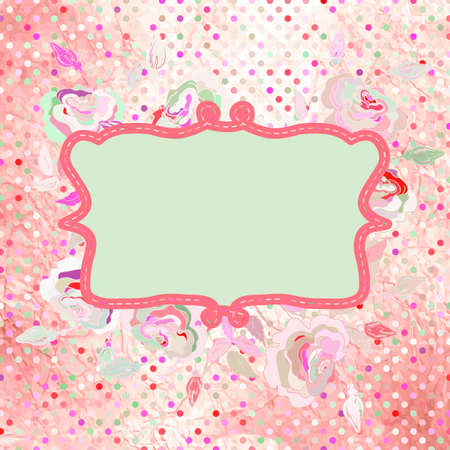 Hand drawn frame with a polka dot pattern  EPS 8 Vector