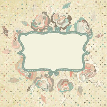 Grunge Punkte Hintergrund mit Rosen EPS 8