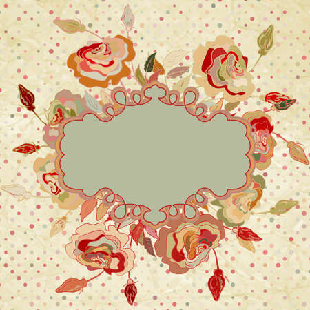 Red background with scrapbook elements   Vector