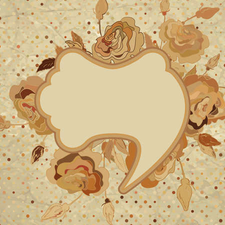 Vintage brown background with flowers  EPS 8  Vector