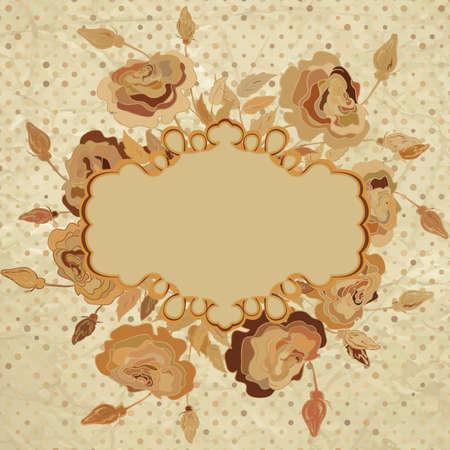 Romantic vintage beidge with flowers  EPS 8  Illustration