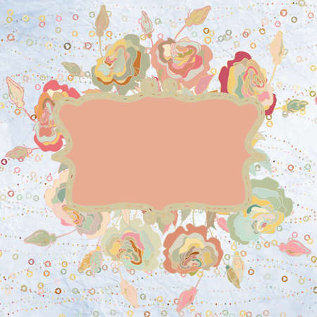 shabby chic background: Pink flowers valentine card