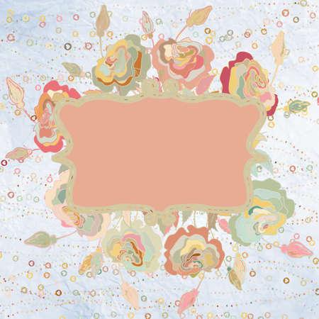 antique chic: Pink flowers valentine card