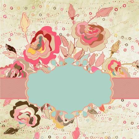 Marco de la vendimia elegante corazones con rosas
