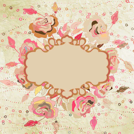 construction paper art: Flowers, hearts and frame on vintage