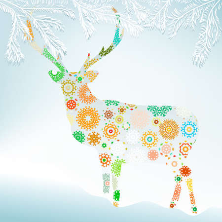 Christmas background with abstract reindeer   Vector