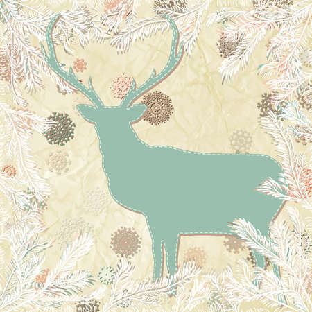 Vintage christmas deer card template  Vector