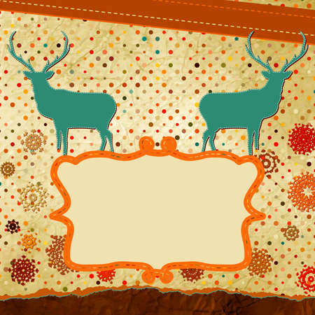 Christmas stylized speech card with deer  Vector