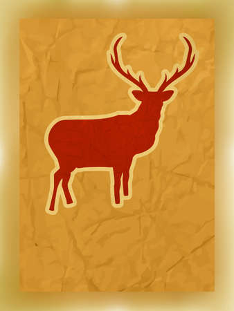 Christmas silhouette of reindeer  Vector