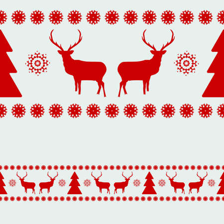 Nordic pattern with deer silhouettes  Stock Illustratie