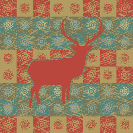 northpole: Greeting card with reindeer Illustration