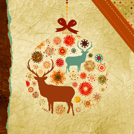 Santa Claus Deer vintage Christmas card Vector