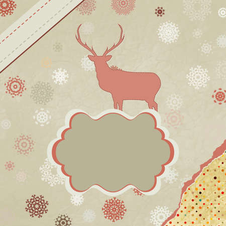 Santa Claus Deer vintage Christmas card Stock Vector - 15906284